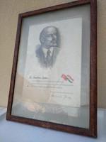 Régi szocialista Lenin emlék keretezve