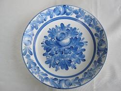 Gránit kerámia kék virágos fali tál dísztányér