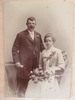 Antik esküvői fotó a Monarchia udvari fényképésze, Jan Nepomuk Langhans műterméből, 1900-as évek
