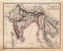 India térkép 1854 (2), német, eredeti, atlasz, osztrák, Ázsia, Nepál, Indokína, Gangesz, Ceylon