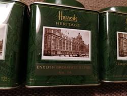 Három darab Harrods teásdoboz (sorozat) : English Breakfast, Ceylon és Earl Grey Tea.