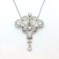 1851. Szecessziós Platina Nyakék Gyémántokkal