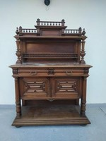 Antik ónémet tálaló bútor dúsan faragott elegáns konyhai szekrény márvány lappal