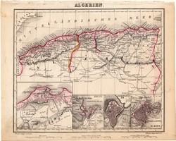 Algéria térkép 1854 (2), német, eredeti, atlasz, osztrák, Afrika, észak, Orán, Algier, Constantine