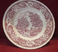 Vidéki jelenetes fajansz porcelán tányér
