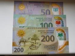 Mauritánia 50-100-200 ouguiya 2017 UNC Polymer