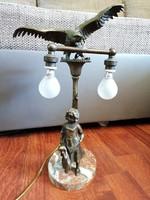 Legalább 100 éves antik bronz lámpatest márvány talapzaton. Gyönyörű, egyedi darab!