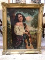 Apátfalvi Czene János: Lány gitárral festmény