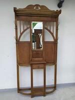 Antik nagy méretű, dekoratív tükrös előszobafal, előszoba fal 1900 as évek eleje