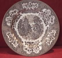 Régi barna angol fajansz porcelán tányér