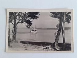 Régi képeslap 1950 Balaton hajó
