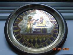 Cizellált mintával,ezüstözött,aranyozott,gilloszált antik falitál