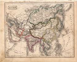 Ázsia térkép 1854 (2), német, eredeti, atlasz, osztrák, Kína, Japán, Tibet, Perzsia, Irán, India