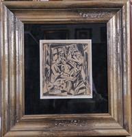 Kádár Béla (1877-1956): Keresztelő, szénrajz