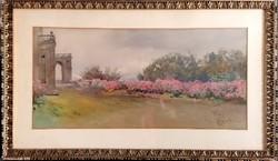 Onataro Carlandi (1848-1939) híres olasz festőművész akvarellje! Címe: Tivoli tájkép! 46x78cm!