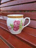 Gyönyörű MZ ritka rózsás, virágos, porcelán csupor,  Gyűjtői darab  falusi paraszti vintage