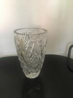 Vastag falú, nehéz kristály váza, 21cm