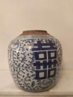 Antik kínai porcelán tea gyömbér tartó edény esküvői felirattal Kína Ázsia