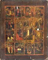 Antik Orosz ikon az 1800-as évekből! Krisztus pokolra szállása, és feltámadása ünnepekkel! 36x29cm