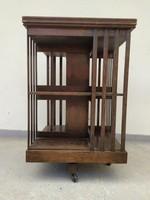 Antik gurulós forgós fa könyvszekrény könyv szekrény könyves polc