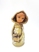 Kerámia baba - jelzett iparművész lány szobor, tél hercegnő, Belle, szépség és a szörnyeteg