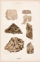 Barit, halit és gyémánt, borostyánkő, kalcit, grafit, litográfia 1885, eredeti, 26 x 42 cm, nagy