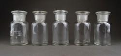 1B268 Régi dugós gyógyszertári 100 ml patika üveg készlet 5 darab