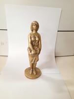Gombát szedő lány tömör réz szobor