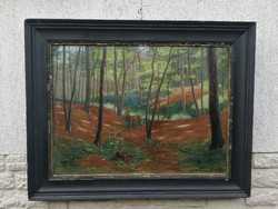 Hatalmas méretű Erdő őzzel, vadász téma festmény! Teőke Andor ritkán előforduló festmény !aukciókon