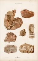 Szelenit, anhidrit és márvány, aktinolit, kettős pát, litográfia 1885, eredeti, 26 x 42 cm, nagy