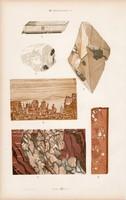 Márvány, aktinolit, kettős pát és szelenit, anhidrit, litográfia 1885, eredeti, 26 x 42 cm, ásvány