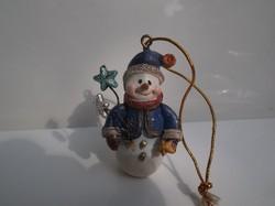 Karácsonyfadísz - kerámia - Hóemberke - 5 x 3,5 cm - hibátlan