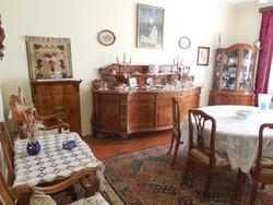 Neobarokk (Chippendale) stílusú, intarziás, 15 darabos ebédlő bútor
