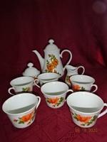 SELTMANN WEIDEN Bavaria német porcelán hat személyes teáskészlet, rózsamintával.
