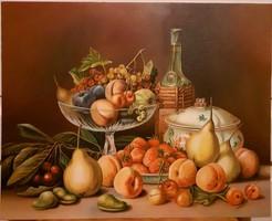 Olajfestmény: Gyümölcscsendélet