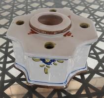 Szecessziós kézzel festett majolika kerámia asztali gyertyatartó és füstölőtartó