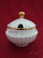 Scherzer Bavaria német porcelán cukortartó, arany szegélyes.