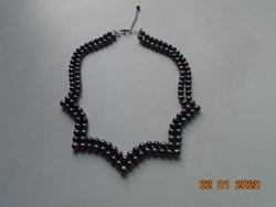 Tahiti fekete sósvízi tenyésztett gyöngy dupla soros nyaklánc jelzett 925 ezüst szerelékkel