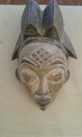 Antik patinás Punu népcsoport fa maszk Gabon Afrika népművészet