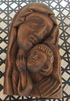 Miskolczi L  szobrász : Szűz Mária Kisjézussal fali fa szobor dombormű