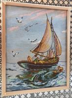 Vitorlás a tengeren - gobelin kép