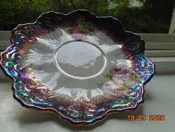 Antik Birodalmi csipkézet, kézzel festett rózsás,  lila türkiz eozinmázas tányér