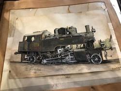 Jurek Aurél festménye, mozdony látványterv, 30 x 42 cm-es, ritkaság.