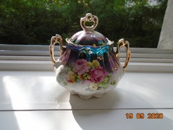 Antik Birodalmi csipkézet, kézzel festett rózsás, különleges lila türkiz eozinmázas cukortartó