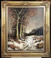 Jelzett klasszikus téli tájkép, gyönyörű keretben  ( 50 x 60 + keret )