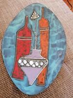 Ritkaság! Fantoni stílusú, bőrrel bevont, kézzel festett, kubista kerámia tálaló, asztalközép.