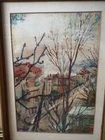 Utcakép akvarell 33x42 jelezve