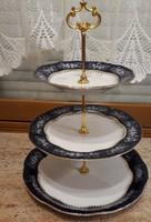 Zsolnay Pompadour emeletes kínáló süteményes tál