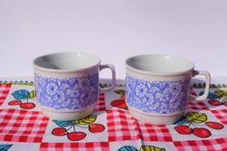 Retro kék virág mintás Zsolnay porcelán kakaós tejes bögre 2 db bögre együtt 2000 Ft