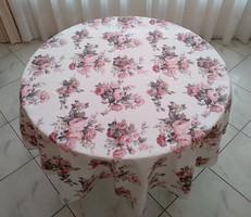 180 cm átmérőjű kerek asztalterítő fáradt rózsaszín virágos